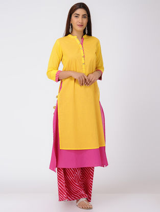 Yellow-Pink Double-layer Cotton Kurta with Tassels and Gota