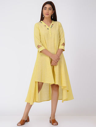 Yellow Asymmetrical Cotton Slub Dress with Beads