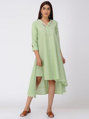 Green Asymmetrical Cotton Slub Dress with Beads