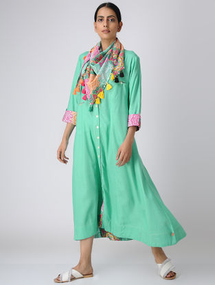 Green Button-down Rayon Slub Dress