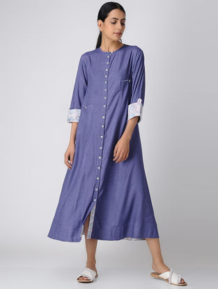 Purple Button-down Rayon Slub Dress