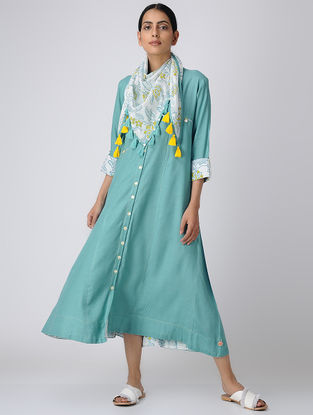 Blue Button-down Rayon Slub Dress