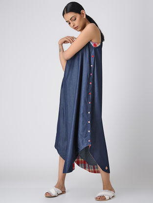 Blue Denim Dress with Asymmetrical Hem