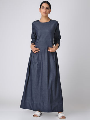 Blue Denim Maxi Dress with Side Gathers