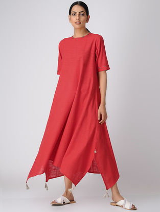 Red Cotton Slub Dress with Asymmetrical Hem