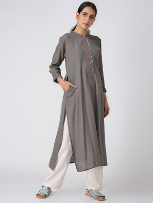 Grey Cotton Slub Kurta with Pocket