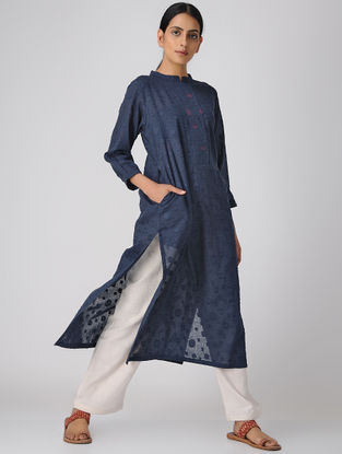 Blue Cotton Dobby Kurta with Pocket