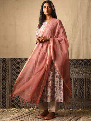 Pink Kota Cotton Dupatta with Zari Border