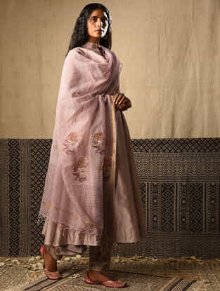 Lilac Printed Kota Cotton Dupatta with Zari Border