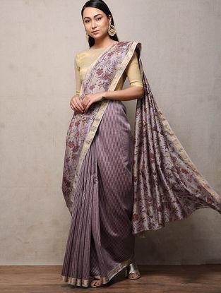 Lilac Khari-printed Chanderi Saree