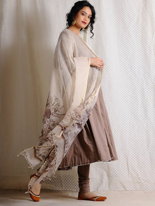 Beige-Madder Printed Kota Cotton Dupatta with Zari