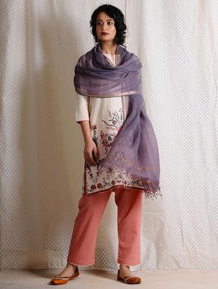 Purple Kota Cotton Dupatta with Zari