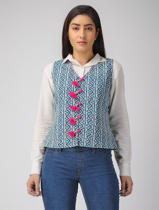 Indigo Block-printed Cotton Jacket with Tassels and Kantha Work
