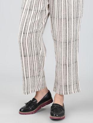Ivory-Black Block-printed Elasticated Waist Cotton Pants