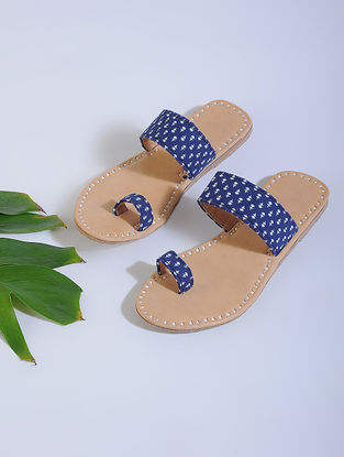 Indigo-Beige Block-printed Cotton and Leather Flats
