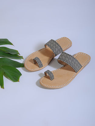 Black-Beige Block-printed Cotton and Leather Flats