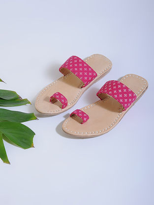 Pink-Beige Block-printed Cotton and Leather Flats