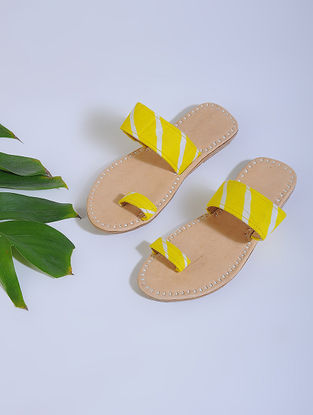 Yellow-Beige Block-printed Cotton and Leather Flats