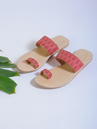 Red-Beige Block-printed Cotton and Leather Flats