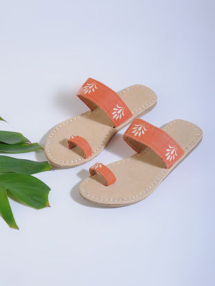Orange-Beige Block-printed Cotton and Leather Flats