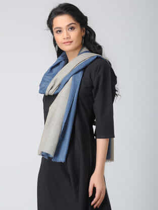 Blue-Grey Ombre-dyed Wool Stole