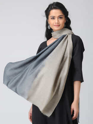 Grey-Beige Ombre-dyed Wool Stole