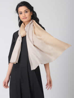 Beige Ombre-dyed Wool Stole
