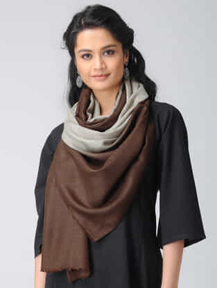 Grey-Brown Ombre-dyed Wool Stole
