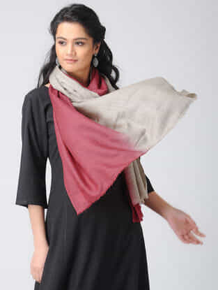 Grey-Red Ombre-dyed Wool Stole