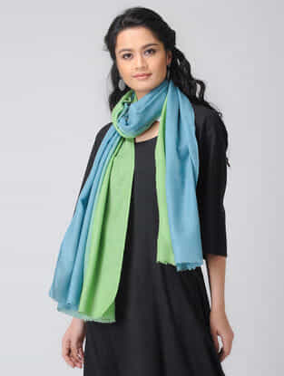 Blue-Green Ombre-dyed Wool Stole