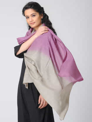 Pink-Grey Ombre-dyed Wool Stole