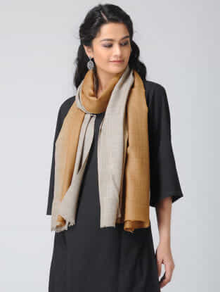 Brown-Grey Ombre-dyed Wool Stole