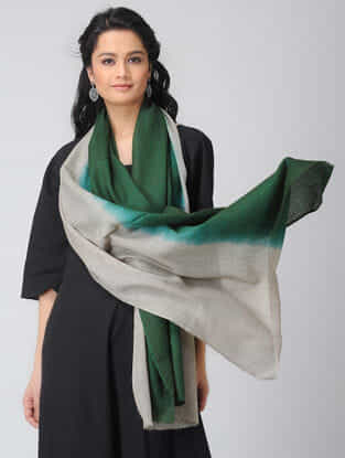 Green-Grey Ombre-dyed Wool Stole