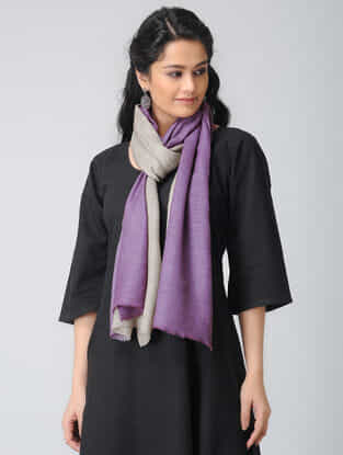 Grey-Purple Ombre-dyed Wool Stole