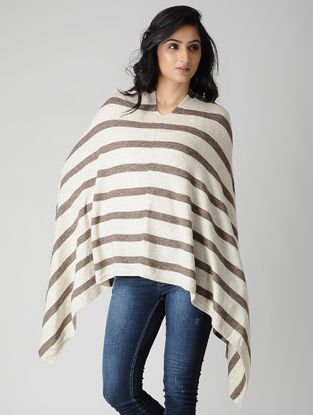 Ivory-Brown Wool Blend Poncho