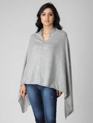 Grey Wool Blend Poncho