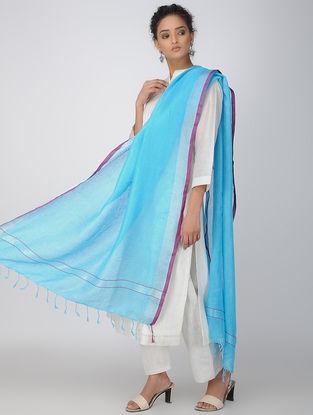 Blue-Purple Linen Dupatta with Zari Border