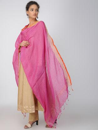 Pink-Orange Linen Dupatta with Zari Border
