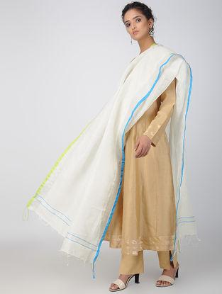 Ivory-Blue Linen Dupatta with Zari Border
