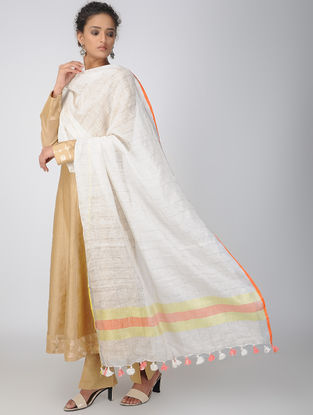 Ivory-Red Linen Dupatta with Zari and Tassels
