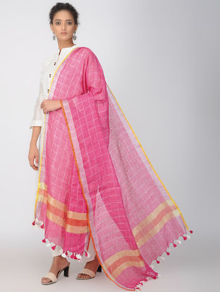 Pink-Yellow Linen Dupatta with Zari and Tassels