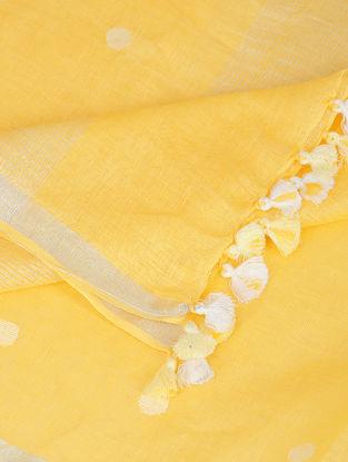 Yellow-Ivory Linen Dupatta with Zari and Tassels