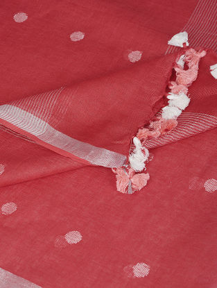 Red-Ivory Linen Dupatta with Zari and Tassels