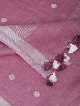 Pink-Ivory Linen Dupatta with Zari and Tassels