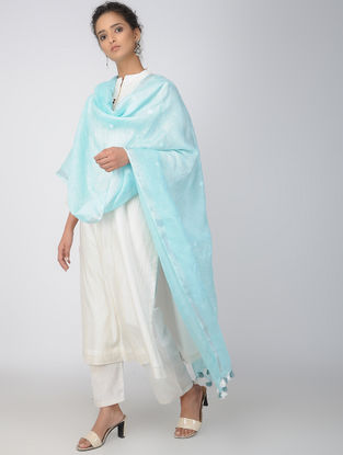 Turquoise Linen Dupatta with Tassels