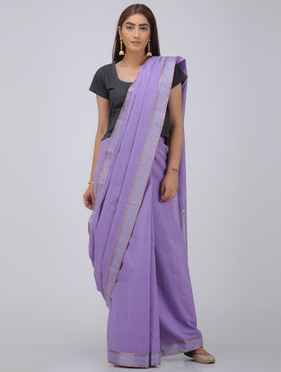 Purple Cotton Saree with Zari