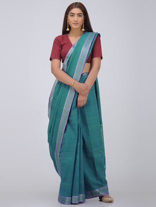 Green Cotton Saree with Zari