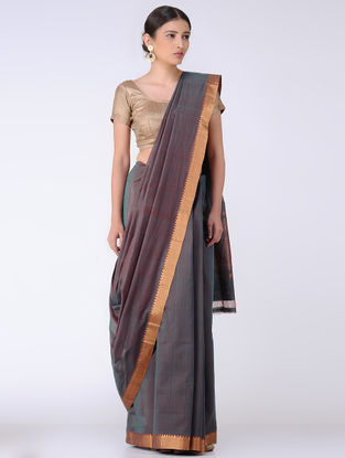 Grey Cotton Saree with Zari