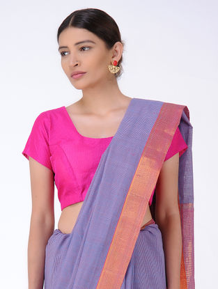 Blue-Pink Checkered Cotton Saree with Zari