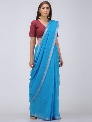 Blue Missing Stripes Cotton Saree with Zari